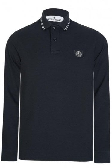 Stone Island Long Sleeve Patch Logo Polo Black