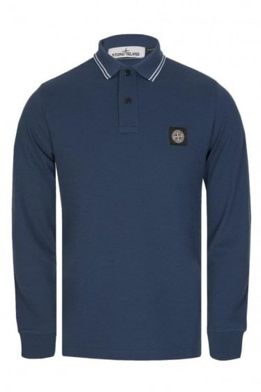 Stone Island Long Sleeve Patch Logo Slim Fit Polo Blue