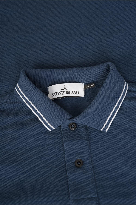 2d674b76c24 Stone Island Long Sleeve Patch Logo Slim Fit Polo Blue
