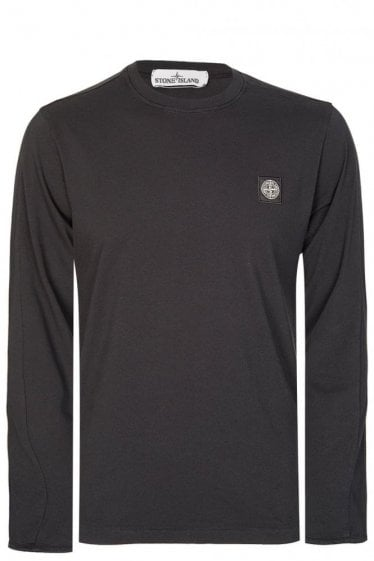 Stone Island Long Sleeved Patch Logo Top Black