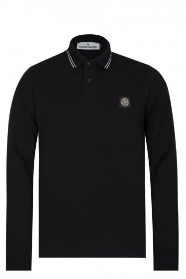 Stone Island Long Sleeved Polo Black