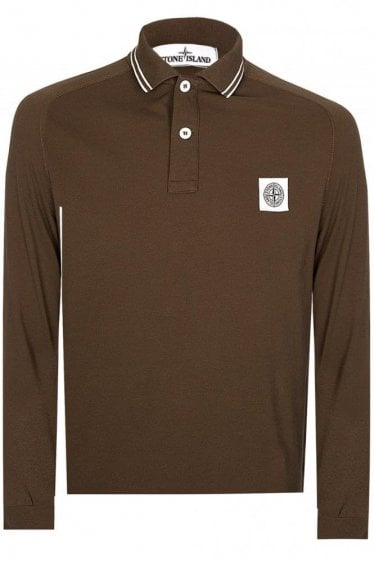 Stone Island Long Sleeved Polo Khaki