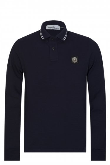 Stone Island Long Sleeved Polo Navy