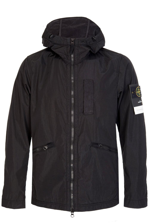 Stone Island Nylon Metal Flock Hooded Jacket Black