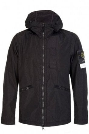 Stone Island Nylon Metal Flock Hooded Jacket Black