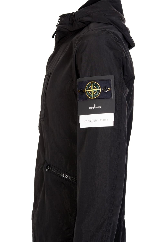 267eb9132 Nylon Metal Flock Hooded Jacket Black