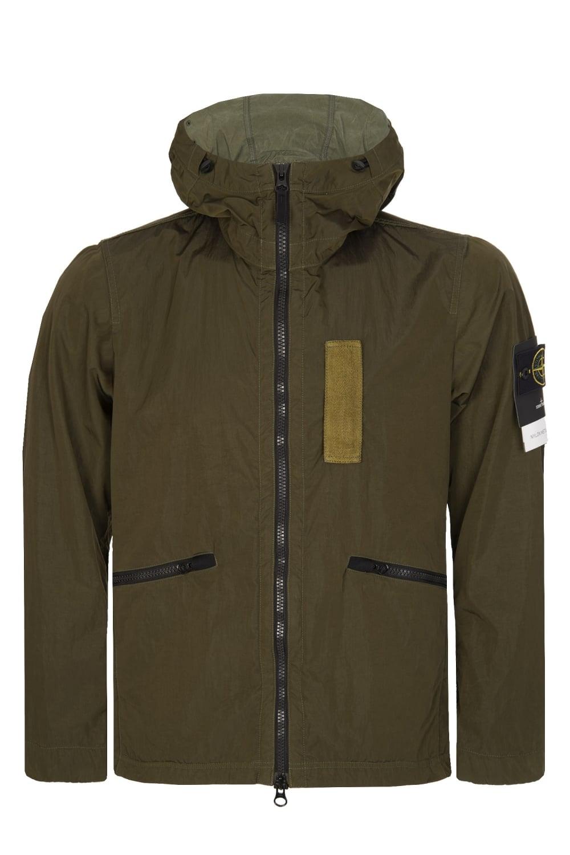 65856ed7c Nylon Metal Flock Hooded Jacket Green