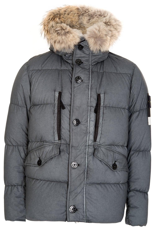 Stone Island Resin Poplin Down Tc Fur Hood Jacket Grey