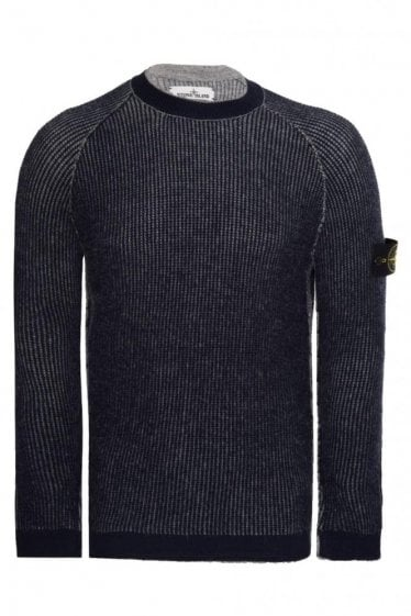 Stone Island Reversible Sleeve Logo Knitted Jumper Grey/Navy
