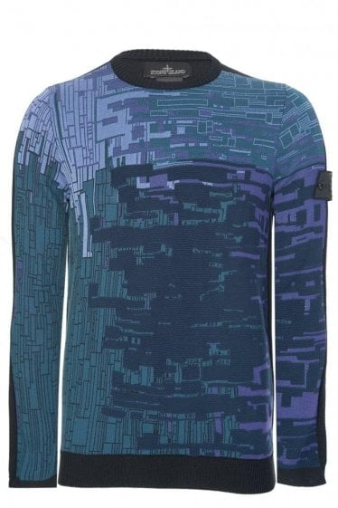 Stone Island Shadow Project Digital Print Knitted Jumper Navy