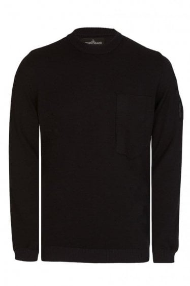 Stone Island Shadow Project Sleeve Badge Crew Neck Knitted Jumper Black