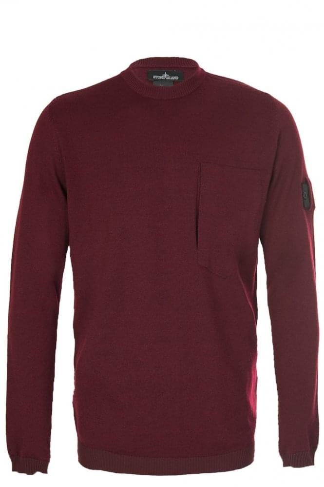 STONE ISLAND SHADOW PROJECT Sleeve Badge Crew Neck Knitted Jumper Burgundy