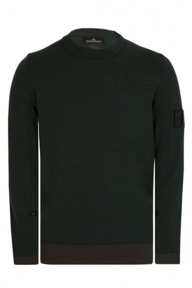 Stone Island Shadow Project Tape Adjust Crew Neck Knitted Jumper Green