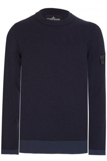 Stone Island Shadow Project Tape Adjust Crew Neck Knitted Jumper Navy