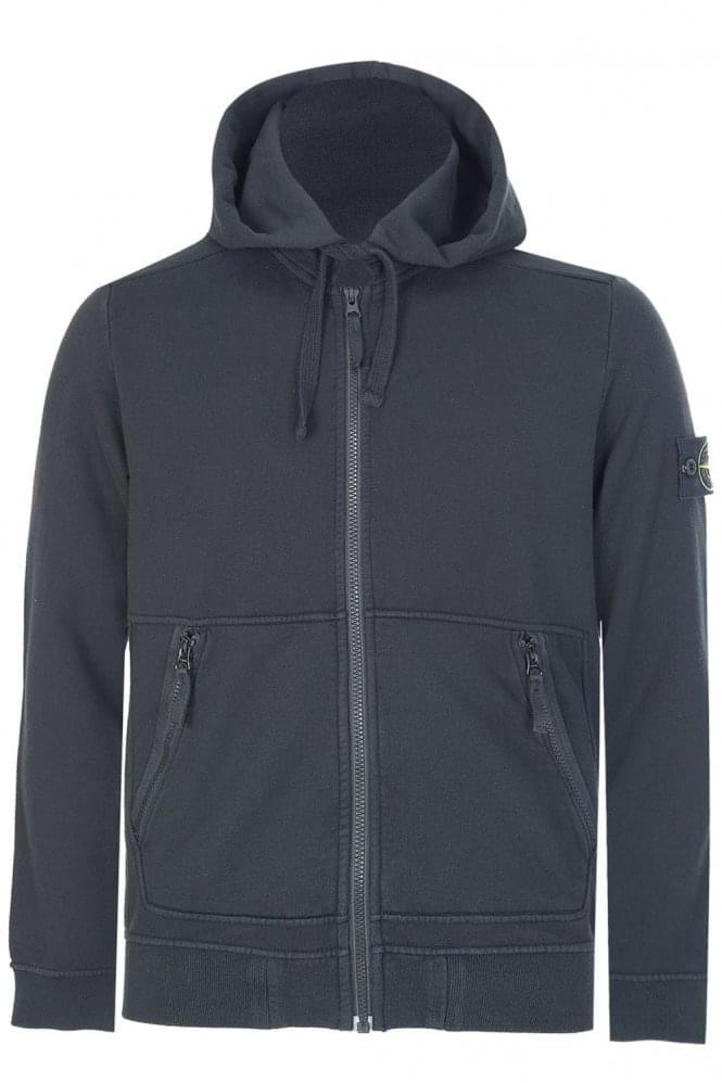 stone island sleeve logo hooded jacket black