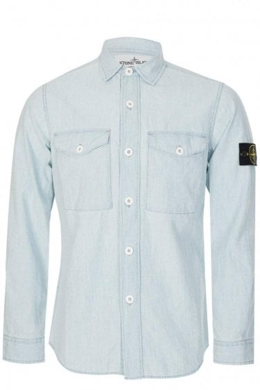 Stone Island Washed Cotton Shirt Blue