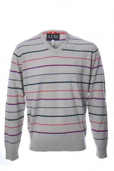 Armani Jeans Multi Striped V Neck Jumper