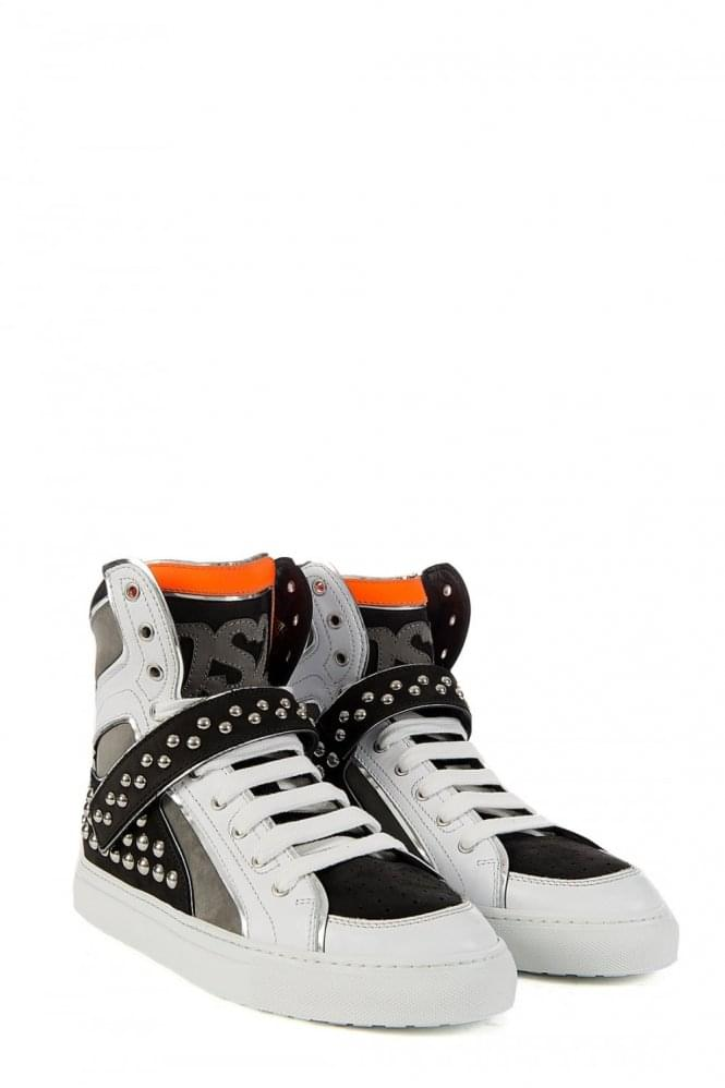 DSQUARED Stud High Top White Sneaker