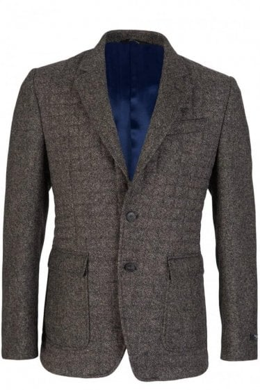 Paul Smith Grey Herringbone Wool Byard Blazer