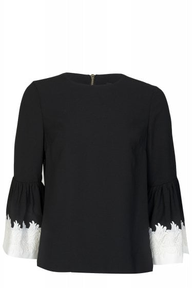 Ted Baker Amonie Fluted Sleeve Lace Trim Top