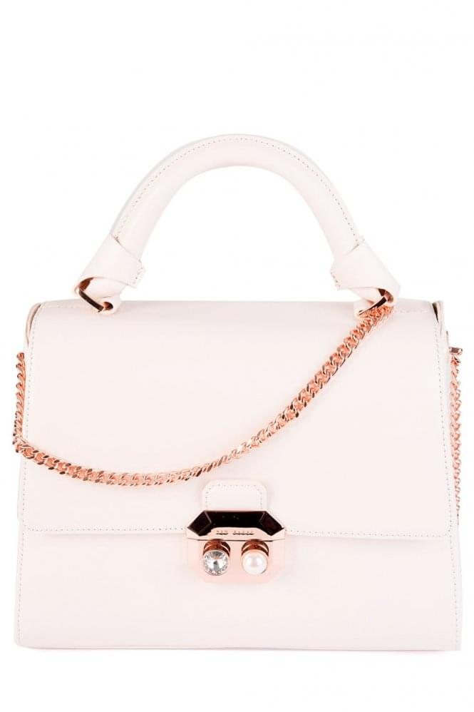 TED BAKER Crystal & Pearl Lock Leather Bag Nude