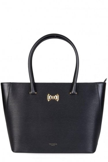 Ted Baker Curved Bow Zip Shopper Black