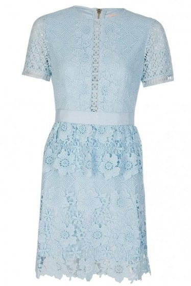 Ted Baker DIXA Layered Lace Skater Dress Blue