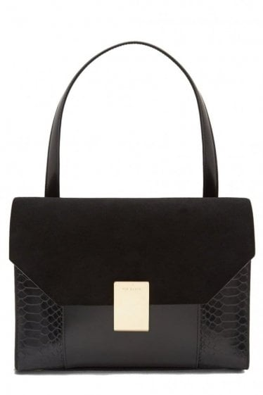 Ted Baker Exotic Detail Leather Shoulder Bag Black