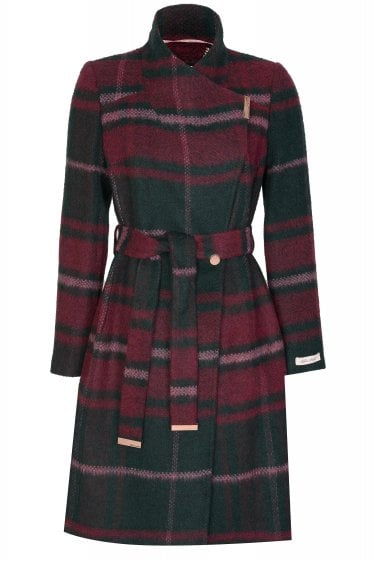 Ted Baker Skaalet Check Long Wrap Coat