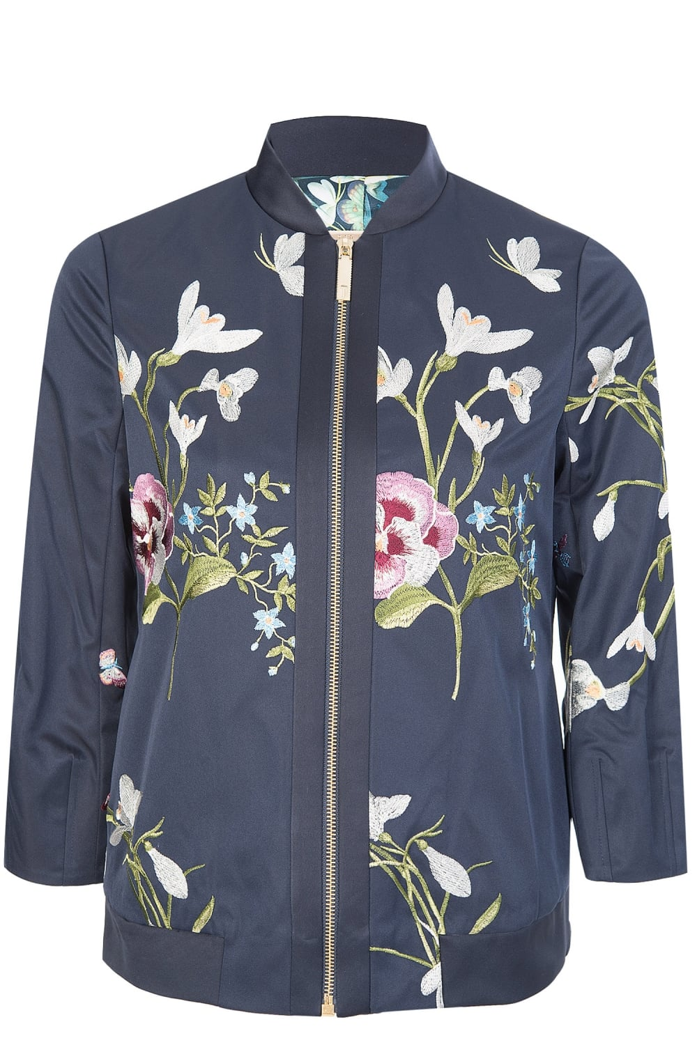 3e570de929971 Ted Baker Spring Meadow Embroidered Bomber Jacket Navy