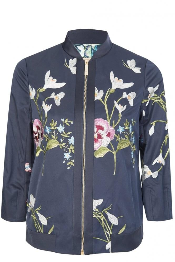 TED BAKER Spring Meadow Embroidered Bomber Jacket Navy