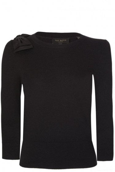 Ted Baker Womens Bow Knitted Jumper Black