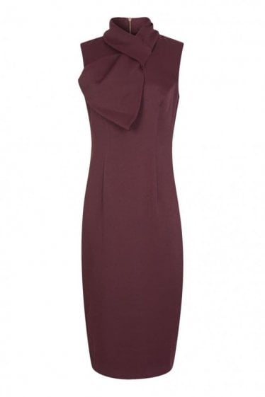 Ted Baker Women's Eyet Bow Neck Dress Maroon