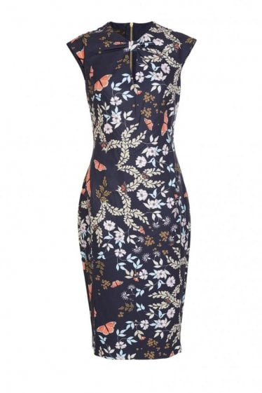 Ted Baker Women's Kairra Gardens Bow Neck Dress Navy