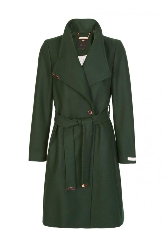 TED BAKER Women's Kikiie Long Wrap Coat Green