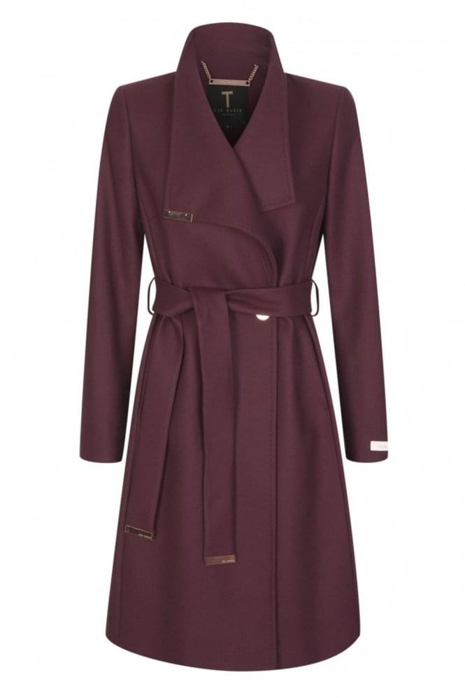 TED BAKER Women's Kikiie Long Wrap Coat Maroon