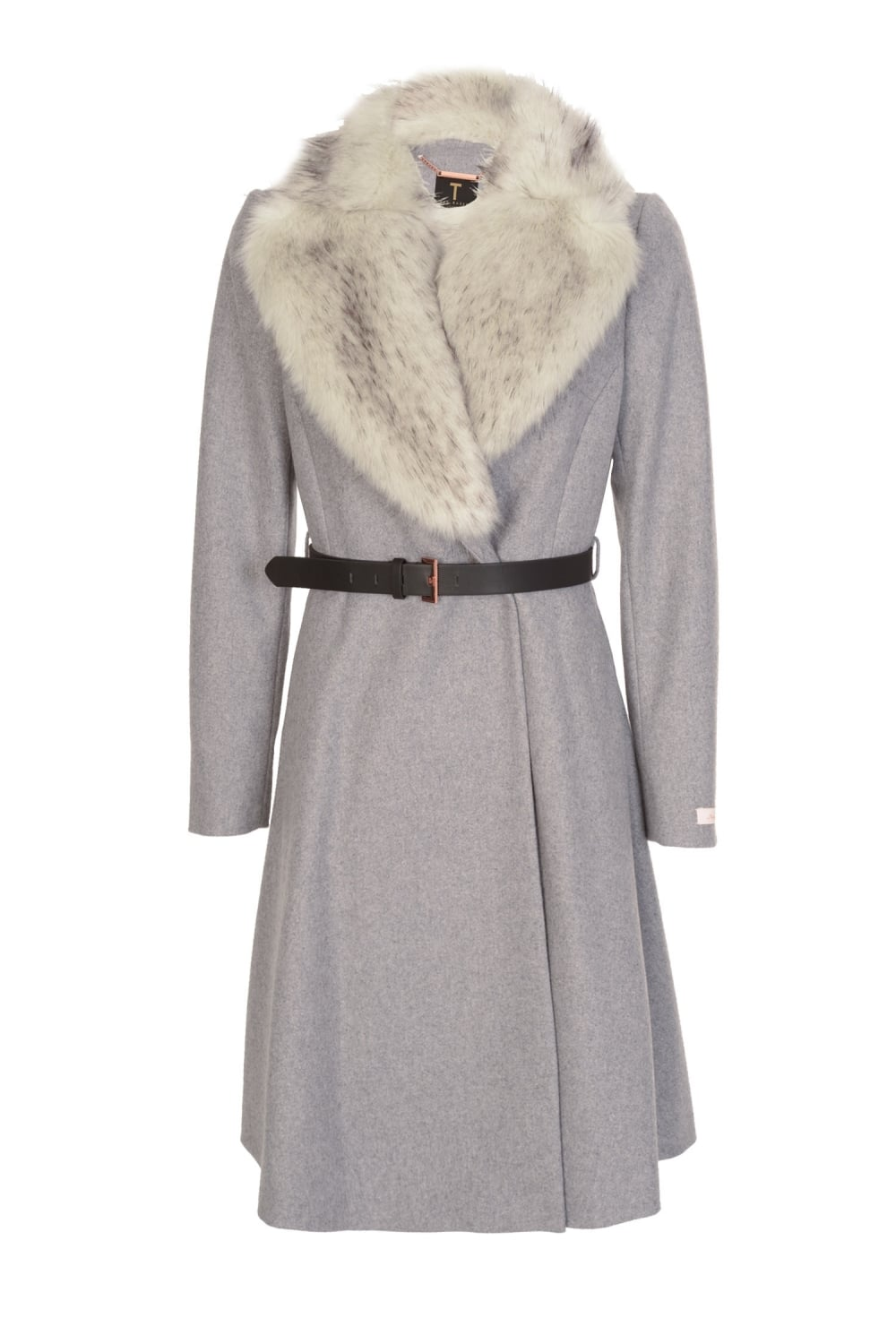 ted baker women 39 s narniaa faux fur collar skirted coat grey. Black Bedroom Furniture Sets. Home Design Ideas
