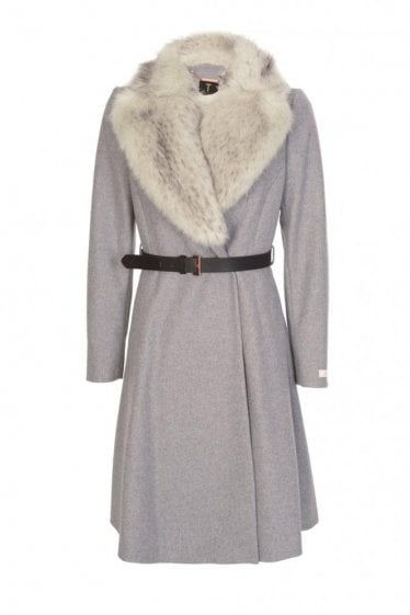 Ted Baker Women's Narniaa Faux Fur Collar Skirted Coat Grey
