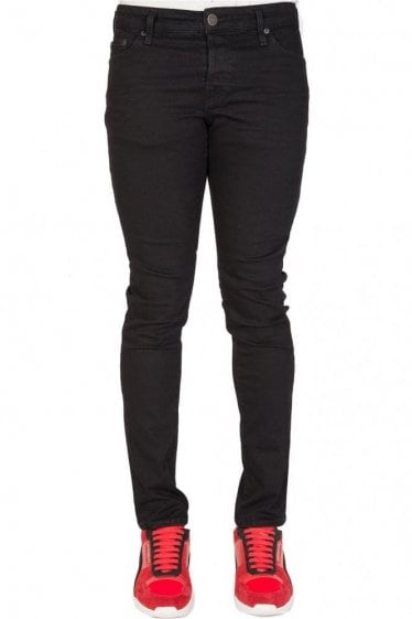 True Religion 'Tony' No Flap Skinny Jeans Black