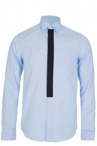 Valentino Contrast Panel Shirt Blue