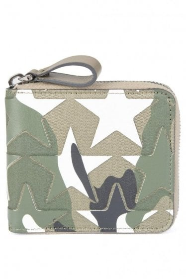 Valentino Garavani Camouflage Zip Around Wallet Khaki