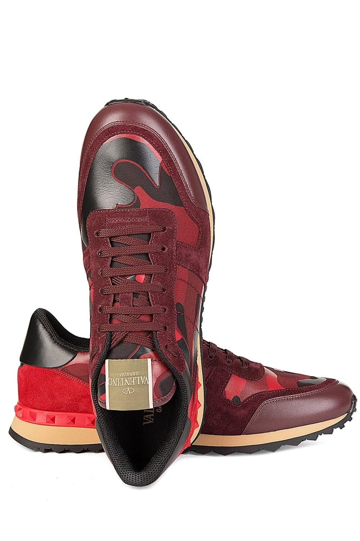 8545c7ae10f3d Valentino Garavani Leather Rockstud Sneakers Red Camo