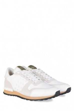 Valentino Garavani Leather Rockstud Sneakers White