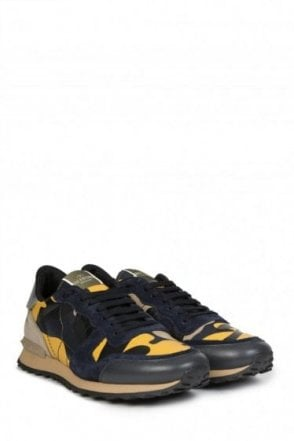 Valentino Garavani Leather Rockstud Sneakers Yellow Cammo