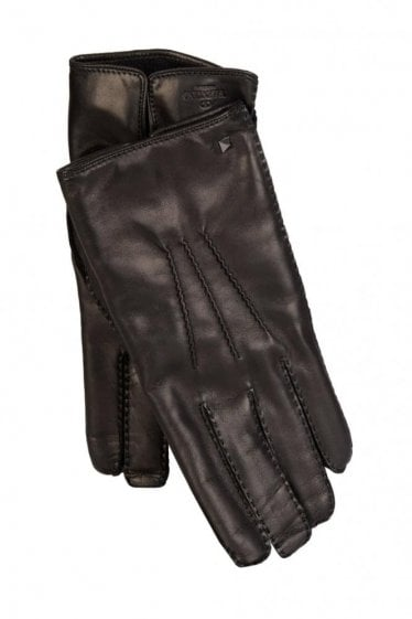 Valentino Garavani Leather Stud Gloves Black