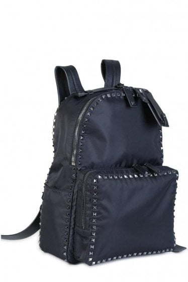 Valentino Garavani Nylon Rockstud Backpack Black