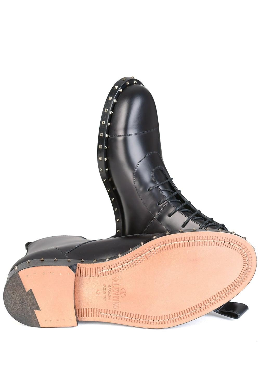 2395426bf61 Valentino Garavani Rockstud Sole Leather Combat Boots Black