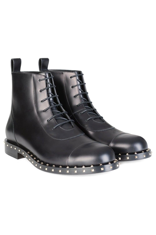 d3c1ba47eb1e3f Valentino Garavani Rockstud Sole Leather Combat Boots Black