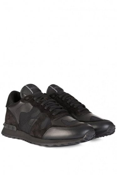 Valentino Leather Canvas Camouflage Sneakers Black