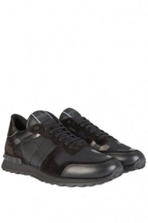 Valentino Leather Canvas Camouflage Sneakers Metalic